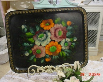 Tole Painted Tray Vintage Handpainted Floral Serving Tray