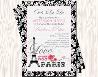 Afternoon in Paris Eiffel Tower wtih Black Damask Wedding Bridal or Baby Shower Birthday Party Invitation Card