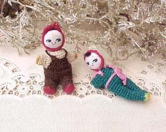 Two Darling Vintage Cloth Christmas Tree Ornament Dolls