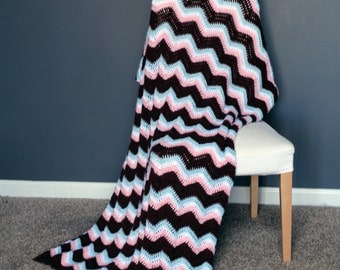 Chevron Afghan Throw Blanket Crochet - Light Pink, Light Blue, White, and Brown Chevron Afghan Striped Ripple Zig Zag - Ready To Ship