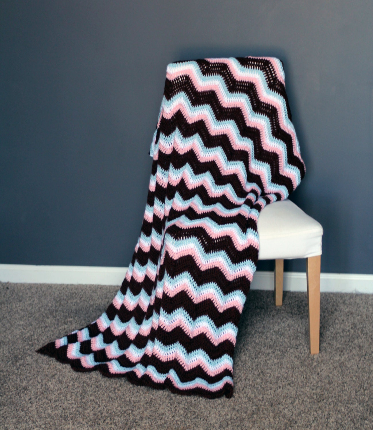 chevron afghan throw blanket crochet light pink light blue. Black Bedroom Furniture Sets. Home Design Ideas