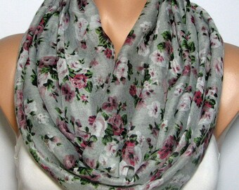 Rose Infinity Scarf for Women, Pink, White, Green, & Silver Gray Viscose Roses Fabric Scarves