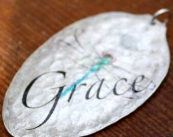 GRACE Dragonfly Vintage Teaspoon Pendant, Silverware Jewelry, Inspirational Jewelry, Unique Art Pendant