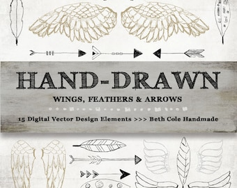 Rustic Hand Drawn Wings, Feathers and Arrows Vector Art, Instant Download, High Resolution Printable Digital Graphics