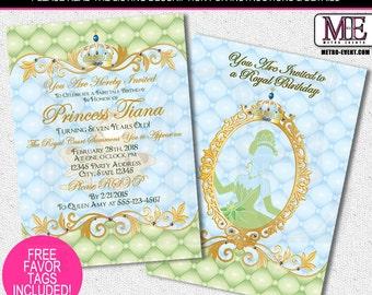 Tiana Invitations, Princess Party Invitations, Princess and the frog Invitations