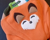 "MEDIUM/LARGE fleece Soaker-leggings: Carrot/Multi ""Fox"" fleece diaper cover (custom in-between size)"