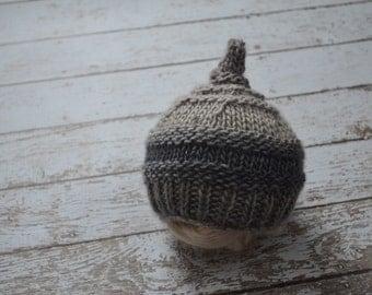 Knit Grey Pixie Gnome Hat Newborn Photo Prop Merino Wool