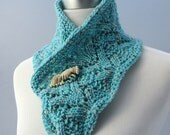 Hand knit infinity scarf, aqua blue