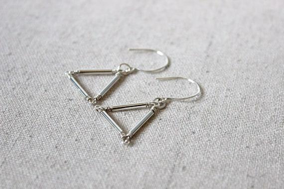SALE 20% OFF - Silver Triangle Earrings, Geometric Earrings, Sterling Silver Earrings, Minimalist Earrings, Modern Earrings