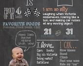 Photo Birthday Celebration Chalkboard - 11x14 digital print customized