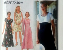 Pullover Dress Pattern with Scoop Neckline, Flared Skirt, Empire Waistline, Misses Simplicty Easy to Sew Pattern 9675 Sizes 6, 8, 10 UNCUT