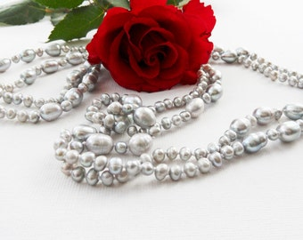 Pearl Necklace - Classic Necklace - Silver Grey Pearls Necklace - Long Necklace - Strand Necklace - Pearl Rope Necklace - Christmas Gift