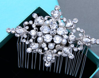 Vintage Style Star Bridal Hair Comb, Vintage Inspired Wedding Hair Comb, Freshwater Pearl Rhinestone Hair Comb, Wedding Hair Accessories