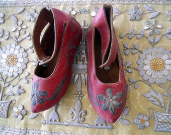 Antique Ottoman Shoes 19th-Century Metallic Embroidery on Leather