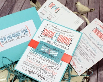 "Coral and Teal Wedding Invitation Set – Vintage Wedding Invitations – Modern Wedding Invites – Custom Invite – ""Modern Matrimony"" Deposit"