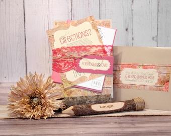 """Rustic Wedding Invitation Set – Vintage Wedding Invitations – Country Wedding Invites – Pink Invite with Wood – """"Rustic Radiance"""" Deposit"""