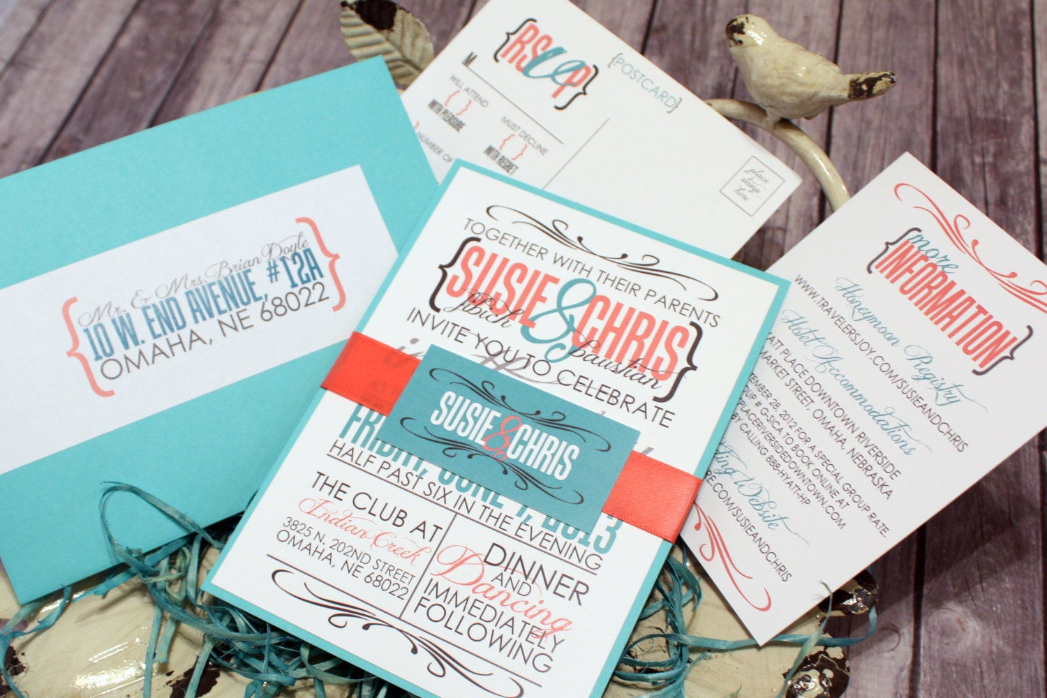 Coral And Teal Wedding Invitations: Coral And Teal Wedding Invitation Set Vintage Wedding