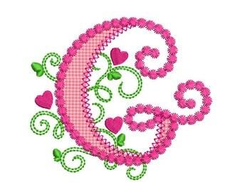 cute letter g alphabet for lil princess hearts applique embroidery design monogram initials valentines day appliquedl067