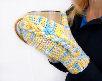 Crochet Mittens, Braided Cable Mitts, Hand Dyed Mittens, Blue and Yellow Mittens, Faux Cable Mitts, Womens Cabled Mittens, Mock Cable Mitten
