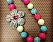 Pink, Blue and Off White Chunky Bead Necklace...Necklaces...Childrens Jewelry...Chunky Beads...Jewelry...Girls Necklaces