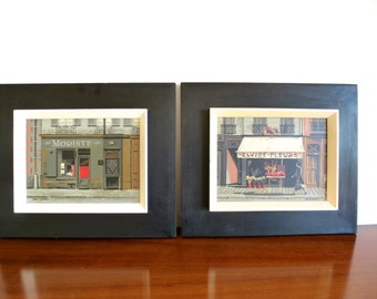 Mid Century Mark Coomer Paris Street Scene Art - Pair