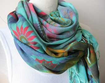 Tropical scarf-Yellow green red multicolor Long scarf -hijab- shawl- Women's scarves - Turkey Spring Fall FASHION - scarves2012 hand painted