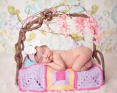 Baby Headband, Lace Headband, White Bow Headband- White Chiffon Bow with Pink Lace Elastic