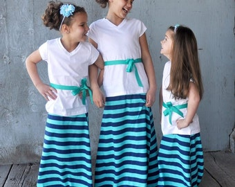 Teal and Navy Striped Maxi Skirt Toddler Little Girl Tween *Clearance* READY TO SHIP