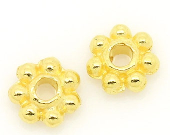50pc Gold Plated Daisy Spacer Bead -  4mm - Spacer, Beading, Bracelet Bead, Jewelry Finding, Making Supplies, Ships from the USA - B143
