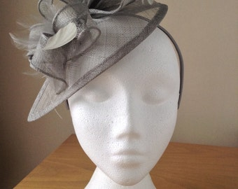Silver Grey Gray Sinamay and Feather Fascinator Formal Hat on a hair band, Ascot, Regatta, Melbourne Cup, mother of the bride