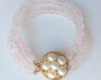 Joseph Mazer Bracelet, Pink Glass Bead & Pearl Bracelet, Signed Bridal Jewelry, Vintage Bracelet