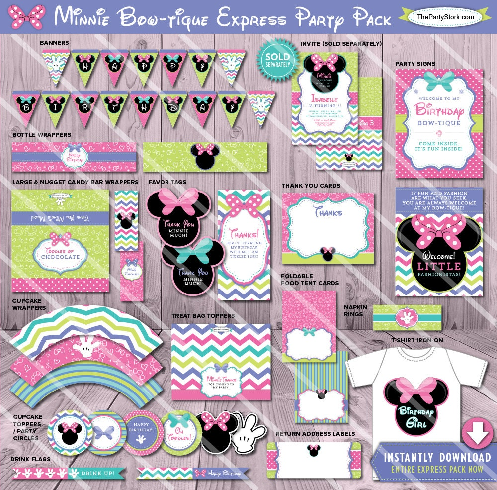 minnie mouse bowtique birthday party package printable. Black Bedroom Furniture Sets. Home Design Ideas
