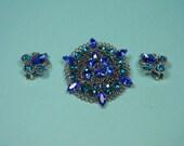 Vintage Modern 80s Blue Rhinestone Jewelry Set