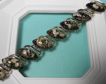 Classic 60s Black Confetti Bracelet, Bold, Neutrals, Lucite