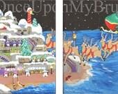 Glow In the Dark Christmas Santa's Sleigh Reindeer Vacation Island Acrylic Art Canvas 2 Paintings Style
