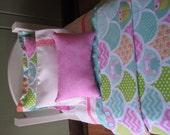 """Sweet Owls Bedding Set for 18"""" dolls"""
