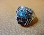 Lg.Native American Mans Turquoise Mosaic Jet Silver Zuni Made Ring