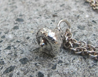 Acorn Pendant - Acorn Charm - Pin Oak Acorn - Sterling Silver