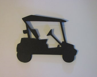 10 golf cart die cuts, large paper golf cart, golf cart embellishments, golf cart gift tags