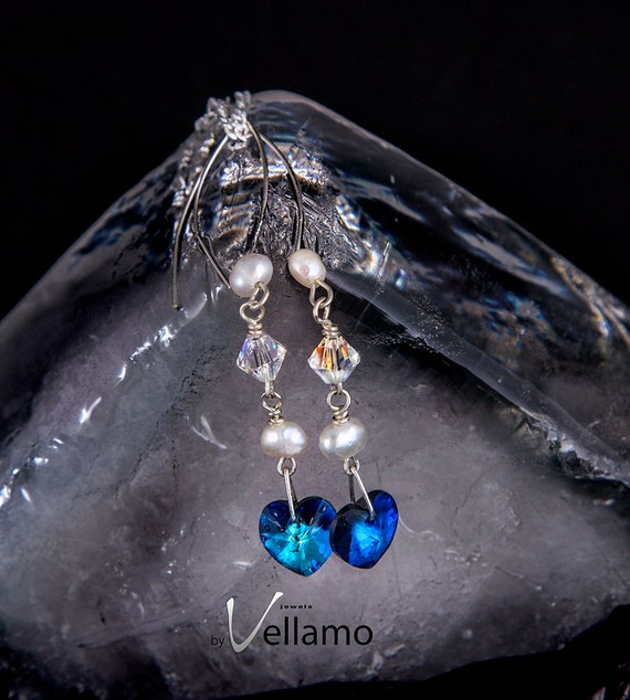 Northern Light Collection earrings Bermuda blue Swarovski crystal heart shaped crystals, aurora borealis, freshwater pearls, sterling silver