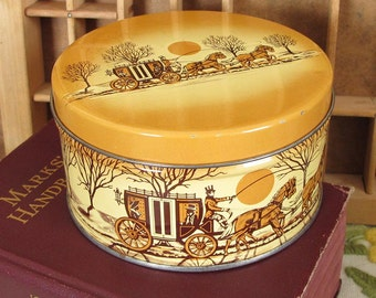 Winter Cherrydale Farms Coach and Horses Vintage Candy Tin in Butterscotch Color