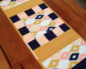 Arizona Modern Table Runner Quilt, Southwest Decor, Quilted Table Topper, Free Shipping, Ready to Ship, Peach Navy and Mustard Decor