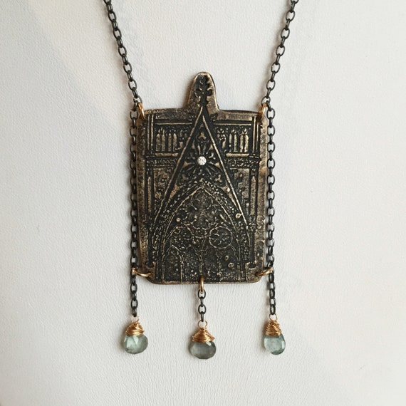 Avalon Necklace in Bronze, Sterling and Moss Aquamarine