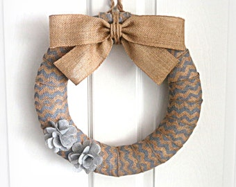 Light Gray Chevron Burlap Wreath - Everyday Burlap Wreath - 14-Inch Light Gray Chevron Wreath with Light Gray Fabric Flowers and Bow