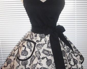 Black Retro Apron Classy Little Black Apron Antique Parfum Circular Skirt