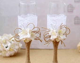 Wedding Champagne Glasses Rustic Wedding Burlap and Lace Toasting Flutes Rustic Toasting Glasses Bride and Groom Toast Glasses