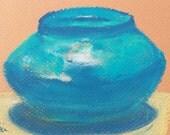 Original Small Pastel Pottery Art Egyptian Blue Pot Painting by Niki Hilsabeck