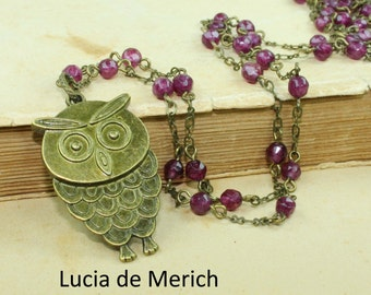 Owl Necklace Rustic Woodland Jewelry ,Owl Jewelry Bronze - coupon code-Black friday - Cyber monday
