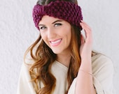 Wrap Bow Look knitted headband knit fashion headband in Plum