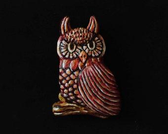 OOAK Chunky Folk Art Owl Magnet